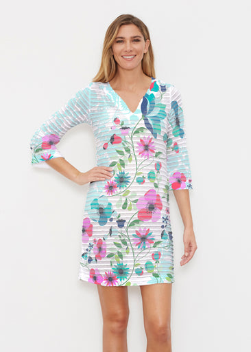 Floral Vines (13420) ~ Banded 3/4 Sleeve Cover-up Dress