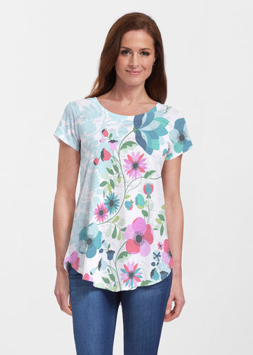 Floral Vines (13420) ~ Signature Short Sleeve Scoop Neck Flowy Tunic