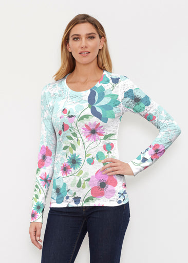 Floral Vines (13420) ~ Thermal Long Sleeve Crew Shirt