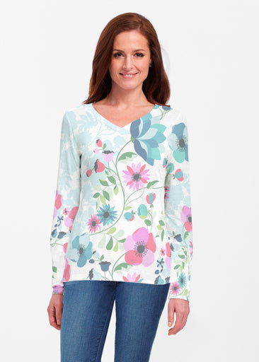 Floral Vines (13420) ~ Classic V-neck Long Sleeve Top