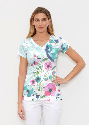 Floral Vines (13420) ~ Signature Cap Sleeve V-Neck Shirt