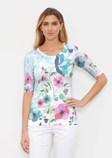 Floral Vines (13420) ~ Elbow Sleeve Crew Shirt