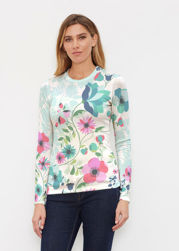 Floral Vines (13420) ~ Butterknit Long Sleeve Crew Top