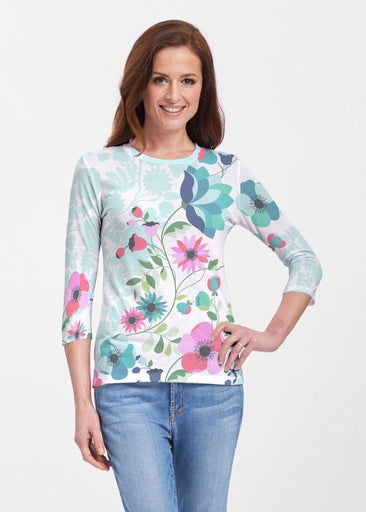 Floral Vines (13420) ~ 3/4 Sleeve Crew