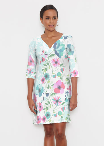 Floral Vines (13420) ~ Classic 3/4 Sleeve Sweet Heart V-Neck Dress