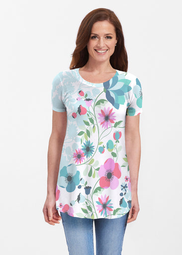 Floral Vines (13420) ~ Butterknit Short Sleeve Tunic