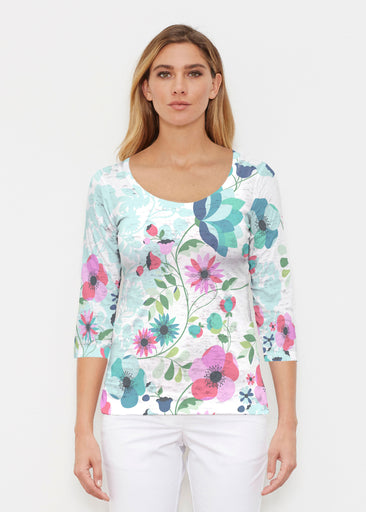 Floral Vines (13420) ~ Signature 3/4 Sleeve Scoop Shirt