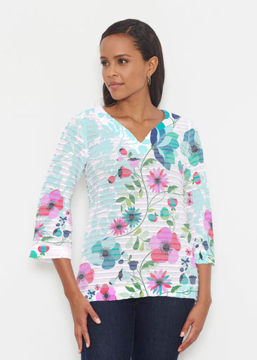 Floral Vines (13420) ~ Banded 3/4 Bell-Sleeve V-Neck Tunic