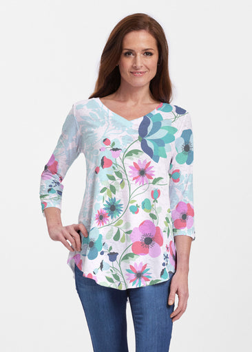 Floral Vines (13420) ~ V-neck Flowy Tunic