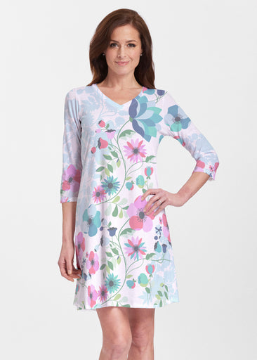 Floral Vines (13420) ~ Classic V-neck Swing Dress