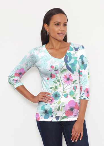 Floral Vines (13420) ~ Signature 3/4 V-Neck Shirt