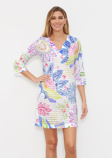 Summertime (13421) ~ Banded 3/4 Sleeve Cover-up Dress