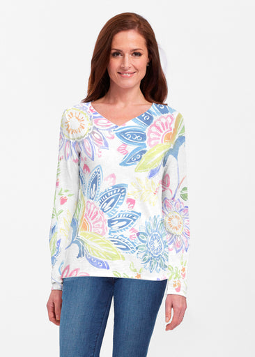 Summertime (13421) ~ Classic V-neck Long Sleeve Top