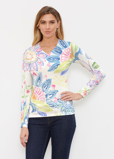 Summertime (13421) ~ Butterknit Long Sleeve V-Neck Top