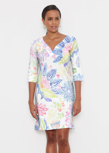 Summertime (13421) ~ Classic 3/4 Sleeve Sweet Heart V-Neck Dress