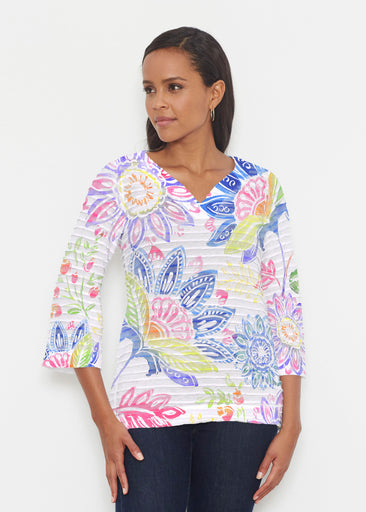 Summertime (13421) ~ Banded 3/4 Bell-Sleeve V-Neck Tunic
