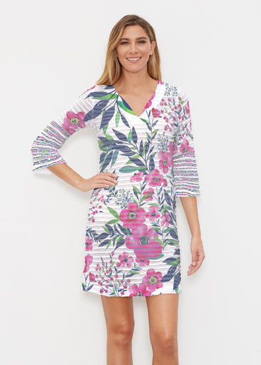 Summer Floral (13423) ~ Banded 3/4 Sleeve Cover-up Dress