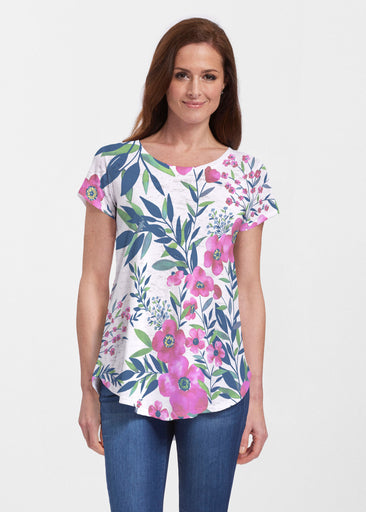 Summer Floral (13423) ~ Signature Short Sleeve Scoop Neck Flowy Tunic