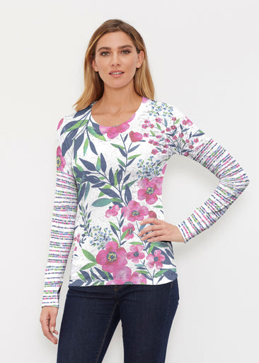 Summer Floral (13423) ~ Thermal Long Sleeve Crew Shirt