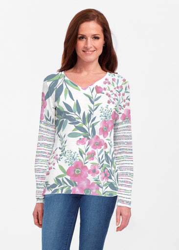 Summer Floral (13423) ~ Classic V-neck Long Sleeve Top