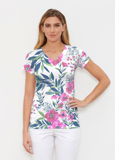 Summer Floral (13423) ~ Signature Cap Sleeve V-Neck Shirt