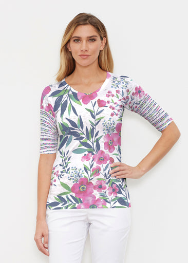 Summer Floral (13423) ~ Signature Elbow Sleeve Crew Shirt