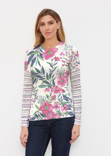 Summer Floral (13423) ~ Butterknit Long Sleeve Crew Top