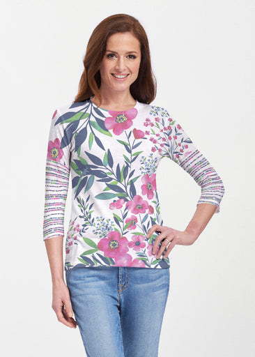 Summer Floral (13423) ~ 3/4 Sleeve Crew