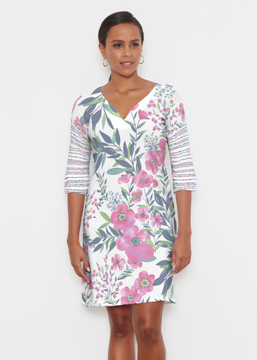 Summer Floral (13423) ~ Classic 3/4 Sleeve Sweet Heart V-Neck Dress