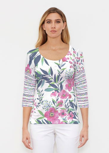 Summer Floral (13423) ~ Signature 3/4 Sleeve Scoop Shirt