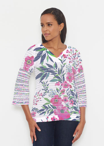 Summer Floral (13423) ~ Banded 3/4 Bell-Sleeve V-Neck Tunic