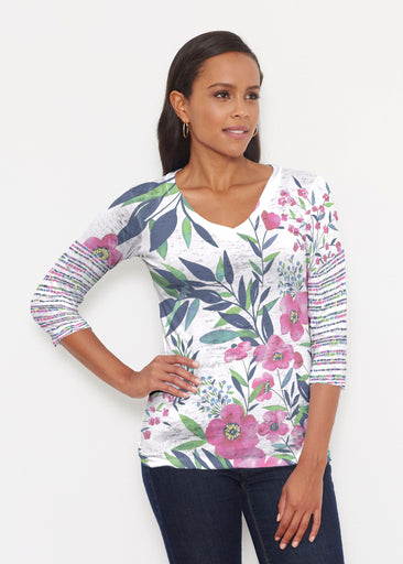Summer Floral (13423) ~ Signature 3/4 V-Neck Shirt
