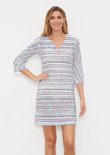Rainbow Dots (13429) ~ Banded 3/4 Sleeve Cover-up Dress