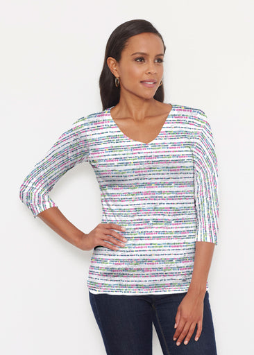 Rainbow Dots (13429) ~ Signature 3/4 V-Neck Shirt