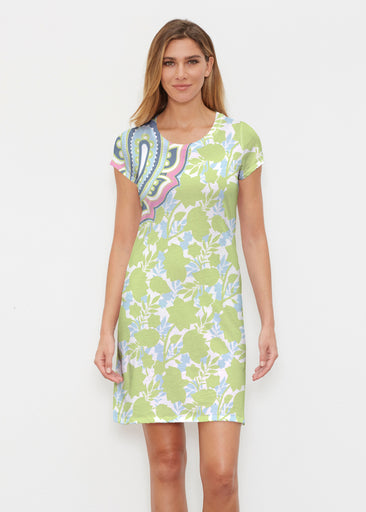 Harbor Paisley Lime (13433) ~ Classic Crew Dress