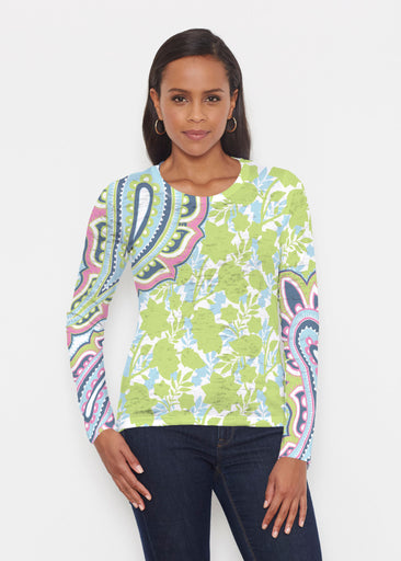 Harbor Paisley Lime (13433) ~ Signature Long Sleeve Crew Shirt