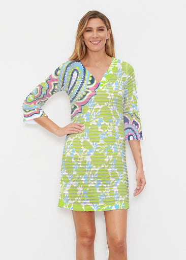Harbor Paisley Lime (13433) ~ Banded 3/4 Sleeve Cover-up Dress