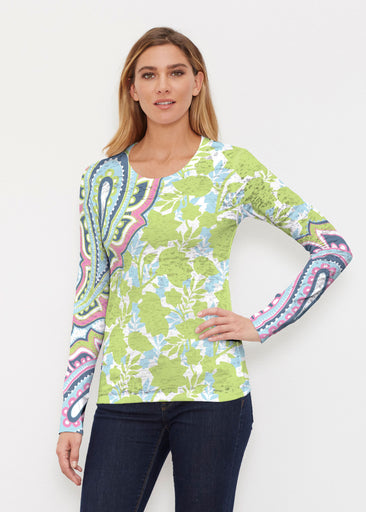 Harbor Paisley Lime (13433) ~ Thermal Long Sleeve Crew Shirt
