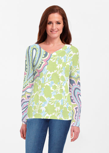 Harbor Paisley Lime (13433) ~ Classic V-neck Long Sleeve Top