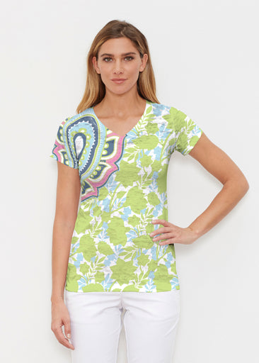 Harbor Paisley Lime (13433) ~ Signature Cap Sleeve V-Neck Shirt