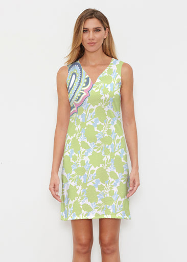 Harbor Paisley Lime (13433) ~ Classic Sleeveless Dress