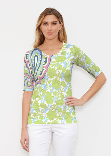 Harbor Paisley Lime (13433) ~ Elbow Sleeve Crew Shirt