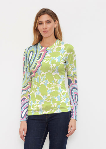 Harbor Paisley Lime (13433) ~ Butterknit Long Sleeve Crew Top