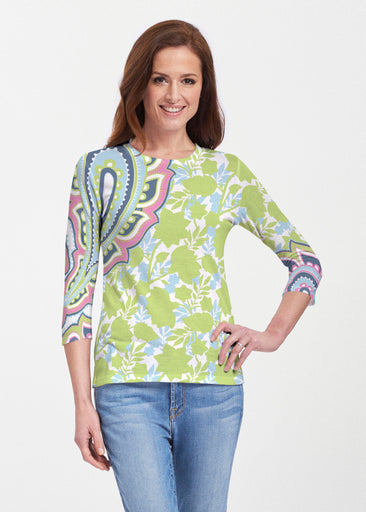 Harbor Paisley Lime (13433) ~ 3/4 Sleeve Crew
