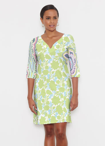 Harbor Paisley Lime (13433) ~ Classic 3/4 Sleeve Sweet Heart V-Neck Dress