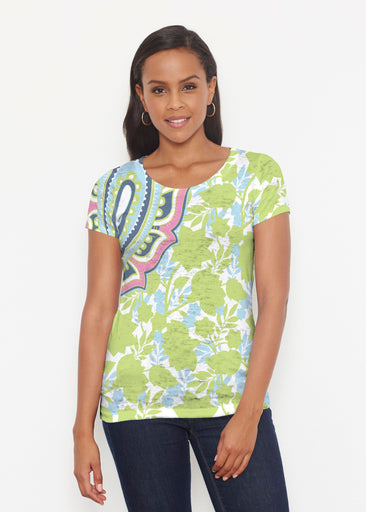 Harbor Paisley Lime (13433) ~ Short Sleeve Scoop Shirt