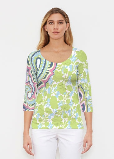 Harbor Paisley Lime (13433) ~ Signature 3/4 Sleeve Scoop Shirt