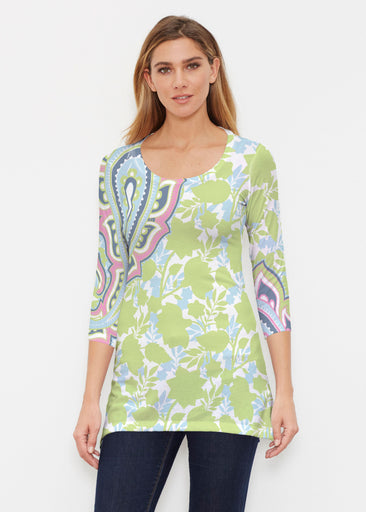 Harbor Paisley Lime (13433) ~ Buttersoft 3/4 Sleeve Tunic
