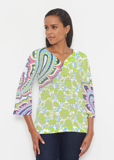 Harbor Paisley Lime (13433) ~ Banded 3/4 Bell-Sleeve V-Neck Tunic