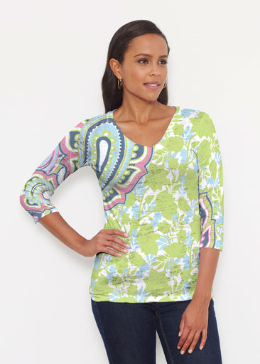 Harbor Paisley Lime (13433) ~ Signature 3/4 V-Neck Shirt